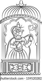 servents or known as gopika or dasi of lord Krishna playing music painted in Kalamkari/Madhubani style, Indian folk art for fabric painting