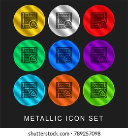 Server 9 color metallic chromium icon or logo set including gold and silver