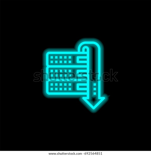 Server blue glowing neon ui ux icon. Glowing sign logo vector