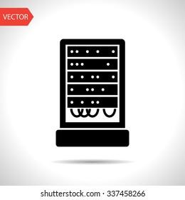 server cabinet icon. Super computer web UI pictogram. Big data calculations symbol