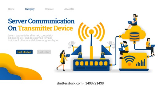 Server Communication on Transmitter Device. transmitter distributes data from database. Vector flat illustration concept, can use for, landing page, template, ui, web, homepage, poster, banner, flyer