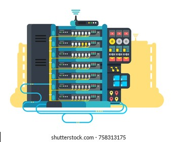 Server data center design flat. Internet network technology and information cloud for storage, vector illustration