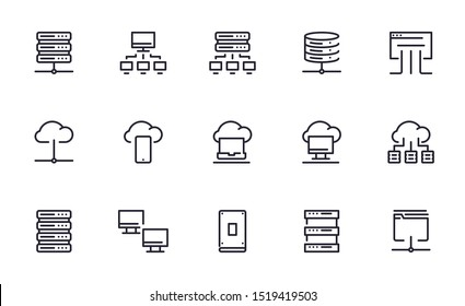 Server database icons set outline style