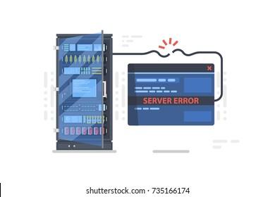 Server error internal 500, concept of problem with server room, site not open, server error concept with browser website page vector illustration