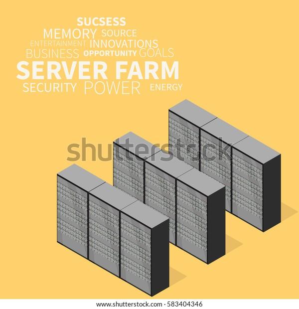 Server Farm Isometric View Server Data Stock Vector (Royalty