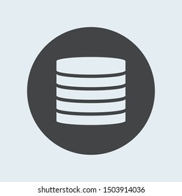 Server gray icon in circle. Vector illustration