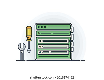 Server hosting configuration. Srewdriver and spanner and rack servers panel. Vector illustration