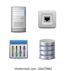Server hosting icons. Vector illustration of computer server
