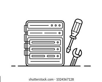 Server hosting optimization and configuration illustration. Screwdriver and spanner and rack servers panel. Vector illustration