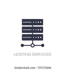 server, hosting services icon on white