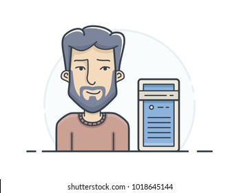 Server hosting support engineer. Network administrator in maintenance of routers and switches. Vector illustration