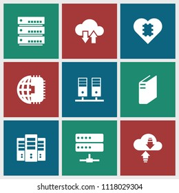 Server icon. collection of 9 server filled icons such as cpu in heart, cpu planet, cpu, cloud download upload. editable server icons for web and mobile.