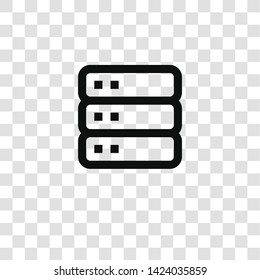 server icon from miscellaneous collection for mobile concept and web apps icon. Transparent outline, thin line server icon for website design and mobile, app development