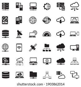 Server Icons. Black Flat Design. Vector Illustration.