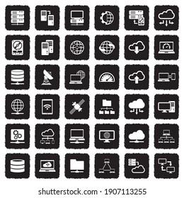Server Icons. Grunge Black Flat Design. Vector Illustration.