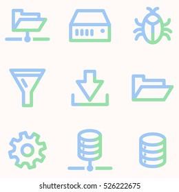Server icons, light blue contour