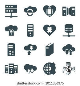 Server icons. set of 16 editable filled server icons such as cpu, cloud download upload, cpu in heart, cpu planet, server