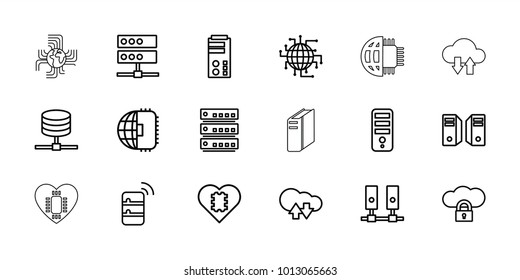 Server icons. set of 18 editable outline server icons: cpu, cloud download upload, cpu in heart, cpu planet, server