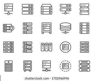 Server line icon set. Collection of vector symbol in trendy flat style on white background. Server sings for design.