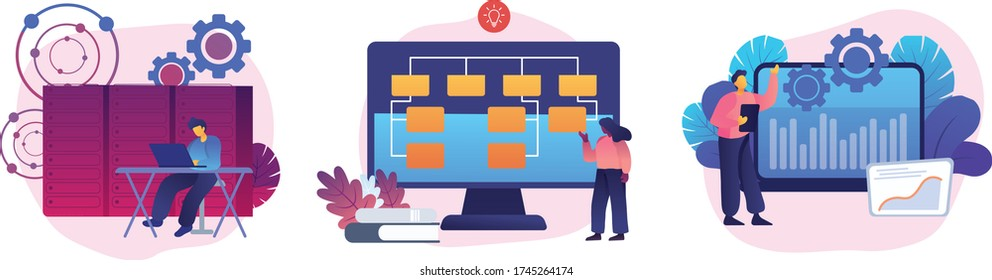Server maintenance, web design development, business organization icons set. System administration, sitemap creation, enterprise it management metaphors. Vector isolated concept metaphor illustrations
