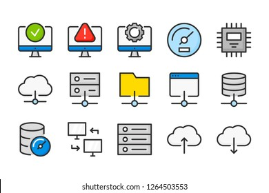 Server and network connection color line icons. Database and synchronization vector linear colorful icon set. Isolated icon collection on white background.