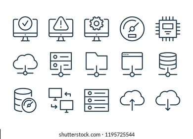 Server and network connection line icons. Vector linewar icon set.