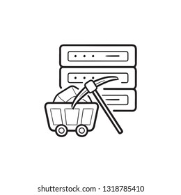 Server and pickaxe hand drawn outline doodle icon. Data mining, data and analytics concept. Vector sketch illustration for print, web, mobile and infographics on white background.