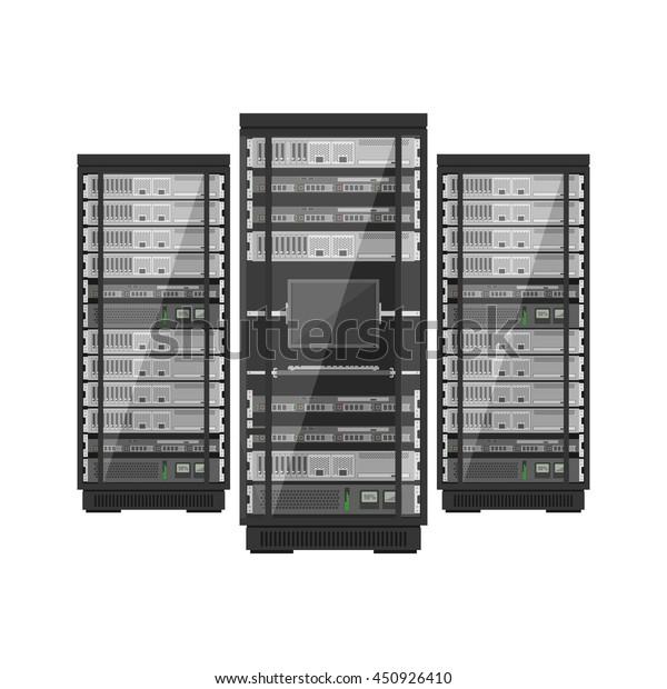 Cabinet Maker Clip Art: Server Rack Console Monitor Server Cabinet Stock Vector