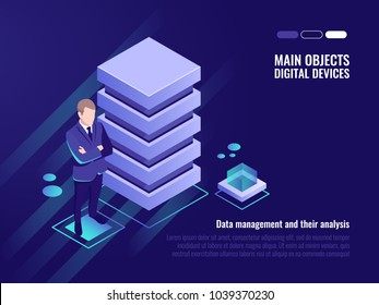 Server rack, data management and analysis, banner of computer technology, digital data, isometric vector