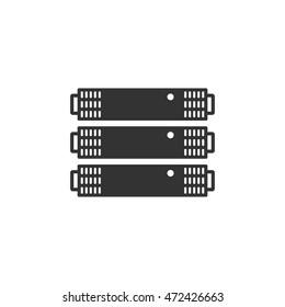 Server rack icon in single color. Computer data file center hosting cloud transfer