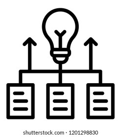 Server rack with magnifier and bulb, using a database to generate ideas
