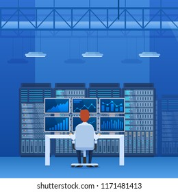 Server rack, network station, database hosting, cloud storage. Interior of server, financial company, stock market, exchange of cryptocurrency mining, office room, control center. Vector illustration