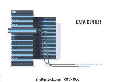 Server rack with open door of processing unit block, server rack farm cabinet room, optical fiber cable 3d vector illustration