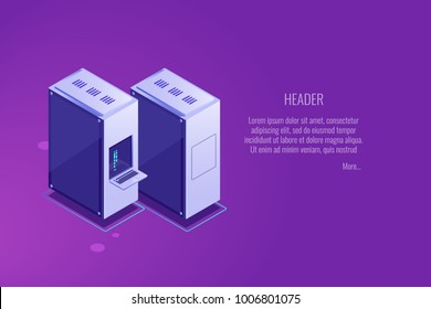 Server rack, server room equipment, row two computer unit, web hosting vps vds banner, isometric vector illustration