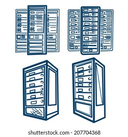 Server Rack. Sketch style Vector of Server Rack. Line scheme.