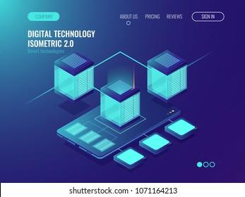 Server room banner, datacenter database connection concept, smartphone mobile phone application development and installing, data transfer, isometric vector