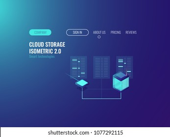 Server room banner, proxy vpn technology, cloud data center datase, blockchain concept, hoting online neon dark isometric vector