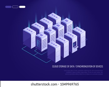 Server room, big data center, cloud servers isometric vector technology