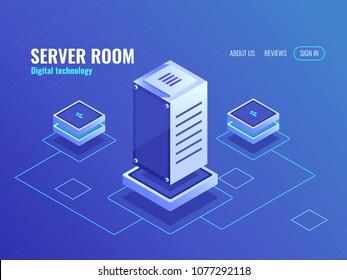 Server room, big data processing center and database, computer digital technology, neon dark isometric vector