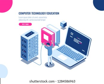 Server room cabinet, data center and database isometric icon, server rack farm, blockchain technology, web hosting, data security, cloud storage, personal data protection, flat vector illustration