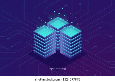 Server room, cloud data cloud storage, big data processing concept, networking and internet conncetion, information warehouse isometric vector