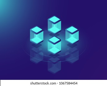 Server room concept, cloud data storage and datacenter isometric vector illustration on neon dar background