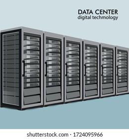 Server room concept, data bank center, web hosting flat vector illustration.