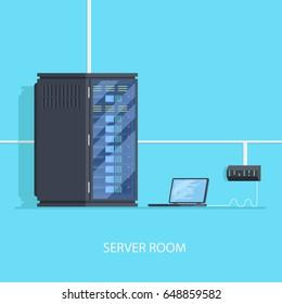 Server room concept with switch laptop. Server configuration process, admin room flat vector illusttation