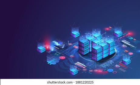 Server room data center. Backup, mining, hosting, mainframe, farm. Hosting server isometric. Network mainframe infrastructure website header layout. Computer storage or farming workstation. Vector