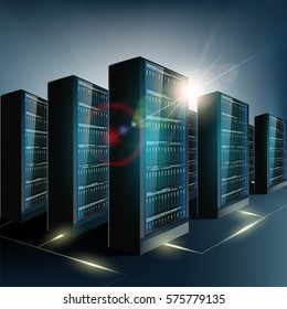 Server room in the datacenter. Network and internet technology. Stock vector illustration.