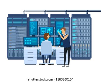 Server room, equipping network administrator workplace, monitoring database, teamwork, financial institution software, joint work, discussion of problem with colleagues, partners. Vector illustration.