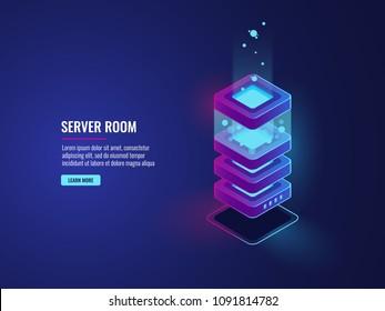Server room icon, isometric vector database concept, web hosting big data processing, computer equipment, futuristic digital technology, dark neon gradient background