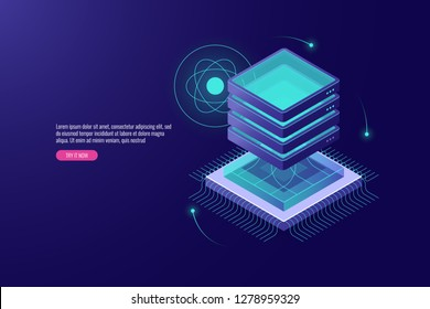 Server room isometric, cloud storage and data center icon, futuristic technology concept, big data processing, microprocessor, cpu vector illustration