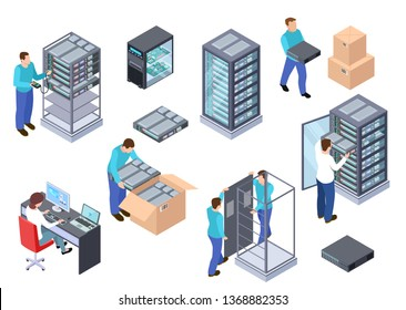 Server room isometric. Information technology server engineer, telecommunication cloud servers, computers and employees vector 3d set